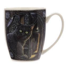 Czarny kot - porcelanowy kubek z nadrukiem projekt: lisa parker