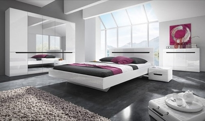 Zestaw mebli do sypialni hektor - białybiały połysk