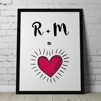 Miłosne inicjały - personalizowany plakat dla pary , wymiary - 40cm x 50cm, kolor ramki - czarny