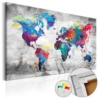 Obraz na korku - mapa świata: szary styl mapa korkowa