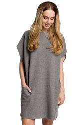 Szara luźna nietoperzowa sukienka z kapturem