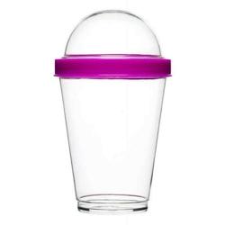Sagaform - to go - kubek na jogurt i dodatki, 0,3 l, różowy - różowy