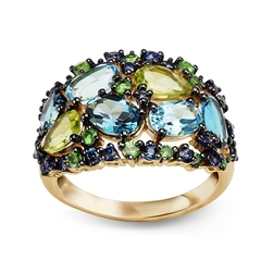 Staviori pierścionek z żółtego złota pr. 0,585 z kamieniami naturalnymi i szlachetnymi szafir, perodyt, topaz, garnet