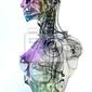 Naklejka cyborg, robot, androide volto, 3d, informatica, komputer