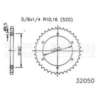 Zębatka tylna stalowa jt 50-32050-46, 46z, rozmiar 520 2302235 aprilia pegaso 650, bmw f 650 650
