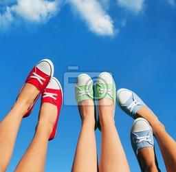 Obraz spacer po niebie, koncepcja lato i przyjaźni