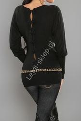 Czarny sweter nietoperz z kokardkami na plecach| czarne swetry damskie 3027