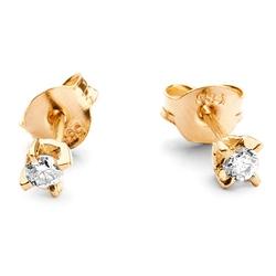 Staviori kolczyki. 2 diamenty, szlif brylantowy, masa 0,10 ct., barwa k-l, czystość i1-i2. żółte złoto 0,585. średnica 2,5 mm. grubość 2,5 mm.