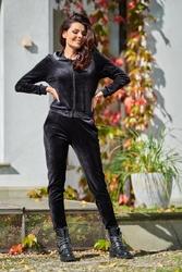 Czarne welurowe spodnie z logowaną taśmą w pasie