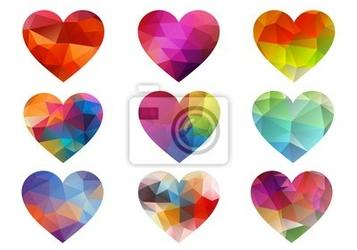 Naklejka kolorowe serca z geometryczny wzór, wektor