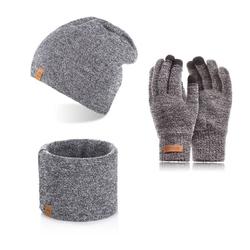 Komplet męski czapka cz4 + komin k2 + rękawiczki r1 jasnoszara mulina