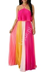 Plisowany szyfonowy komplet, długa spódnica i bluzeczka ala sukienka w odcieniach różu