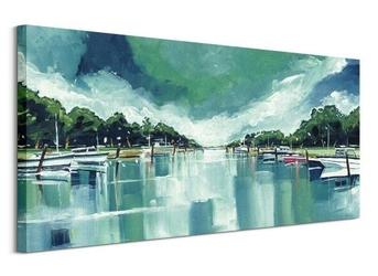 River mornings and angry clouds - obraz na płótnie