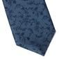 Niebieski jedwabny krawat w roślinny wzór długi