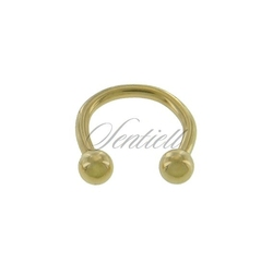 Stalowy 316l kolczyk podkówka z kulkami - złota