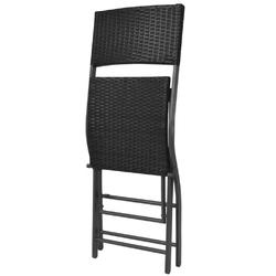 Zestaw ogrodowy stół + 2 krzesła domma polirattan czarny