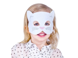 Maska filcowa biały kotek - 1 szt.