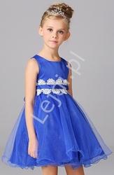 Niebieska tiulowa sukienka dla dziewczynki z białą koronką w pasie
