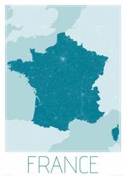 France, blue - mapa