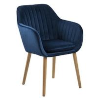 Krzesło do salonu emily niebieskie welur