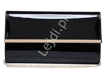Duża czarna lakierowana kopertówka