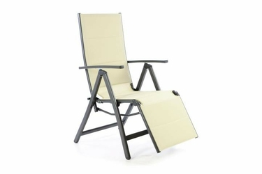 Leżak ogrodowy regulowany składany, krzesło ogrodowe kolor beżowy