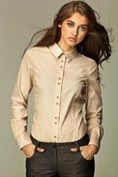 Beżowa koszula z podwójnymi guzikami - beż