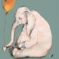 Słonik z balonem - plakat wymiar do wyboru: 40x50 cm