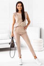 Dresowy komplet bluzka + spodnie - beżowy
