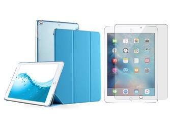 Etui apple ipad 9.7 2017  2018 crystal smart case niebieskie + szkło - niebieski
