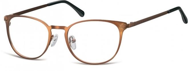 Oprawki damskie kocie oczy stalowe sunoptic 992g brązowe