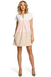 Trapezowa sukienka trzykolorowa z zakładką - pudrowy