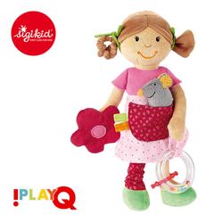 SIGIKID Przytulanka aktywizująca Dziewczynka z myszką z gryzakiem, grzechotką, piszczałką i szeleszczącą folią 6m+ PlayQ