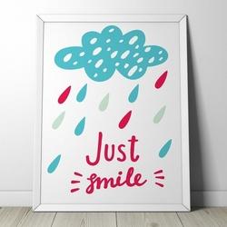 Just smile - plakat dla dzieci , wymiary - 18cm x 24cm, kolor ramki - czarny