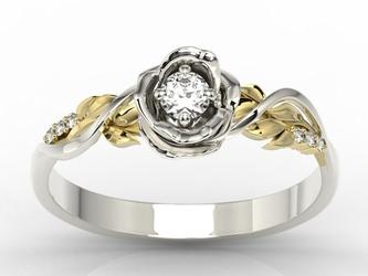 Pierścionek złoty w kształcie róży z brylantami lp-7715bz - białe i żółte  diament