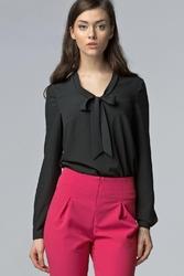 Czarna szykowna bluzka z szarfą do wiązania z długim rękawem