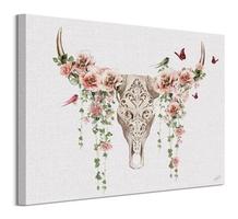 Floral skull - obraz na płótnie
