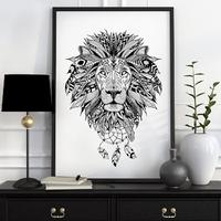 Aztecki lew - plakat designerski , wymiary - 60cm x 90cm, kolor ramki - czarny