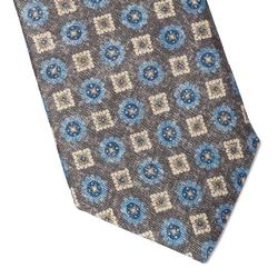 Elegancki szary krawat jedwabny hemley w kwiaty