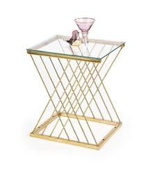 Ława nowoczesna prostokątna - ciekawy design - szklany blat - 50 cm - nancy