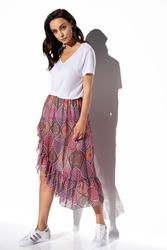 Długa spódnica z falbaną we wzory - druk 20
