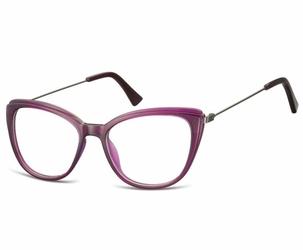 Okulary oprawki zerówki korekcyjne kocie oczy sunoptic ac8c fioletowe