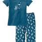 Piżama z krótkim rękawem i spodniami 34 bonprix niebieskozielony - biały