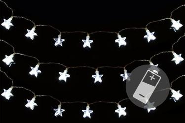 Lampki świąteczne gwiazdki 20 led - 3 łańcuchy zimny biały