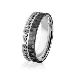 Obrączka srebrna męska z karbonem - włóknem węglowym i czarnymi cyrkoniami - wzór ag-385