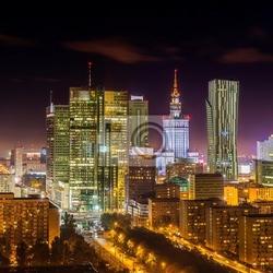Obraz warszawa w nocy śródmieście