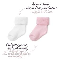 Colorstories skarpetki frotowe 2 pary białe i różowe 3-6 mies. 9-10 cm
