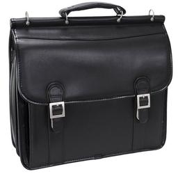 Skórzana teczka męska mcklein halsted 80335 na laptopa 15,4 czarna - czarny