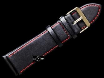 Pasek skórzany do zegarka - czarnyczerwonyzłoty - 28mm