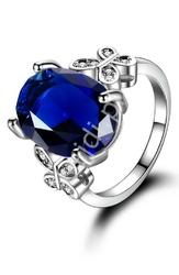 Pierścionek srebrny 925 z niebieskim oczkiem cyrkonią aaa+